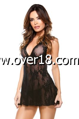 Tease Stretch Lace Chemise with Matching G-string - OS