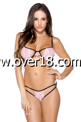 Tease Two Tone Stretch Lace Bra  Panty Set