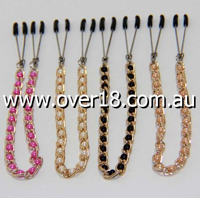 Tweezer Nipple Clamps with Connecting Chain