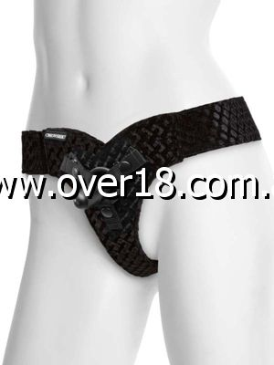 Vac-U-Lock EZ Rider Thong Velvet Harness with Plug Black