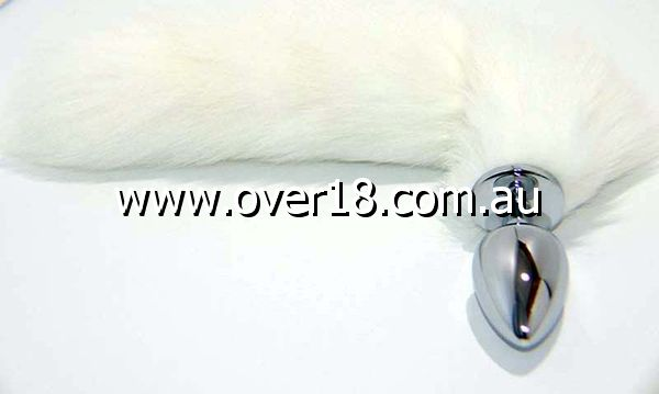 White Fox Tail Smooth Silver Butt Plug