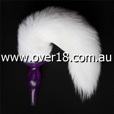 Long White Fox Tail Purple Butt Plug